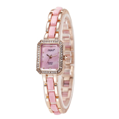2016 High Quality SBAO S-0146 Women's Square Shape Diamond-encrusted Dial Fashion Casual Wristwatch Gold Shell (Pink)