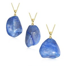 2016 New Arrival 18k Gold Plated Necklace Natural Stone High Quality For Women Valentine's Day Jewelry Blue - Intl