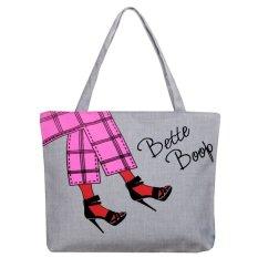 2016 New Canvas Cartoon Printing Girl Woman Man Shoulder Bag Handbag Character Lady Female Large Capacity Casual Tote - INTL