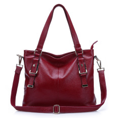 2016 New Fashion Leather Handbags Women Messenger Bag Women Leather Shoulder Bag Ladies Cowhide Totes (Red)