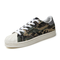 2016 New Fashion Men Street Style Breathable Casual Shell Toe Shoes Mans Camouflage Canvas Shoes (Green)