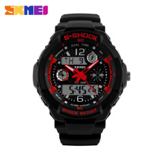2016 New SKMEI Luxury Brand Men Military Sports Watches Digital LED Quartz Wristwatches Outdoor Casual Watch (Red)