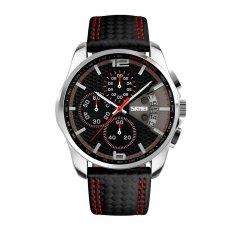 2016 New Sport Watches Men Fashion Quartz Wrist Watch Waterproof Leather Band Stopwatch Luxury Brand Skmei Relogio Masculino (Red) - Intl