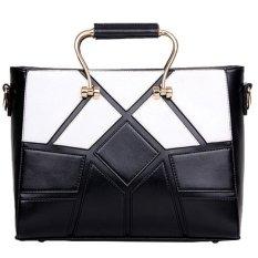 2016 New Style Geometry Fashion Diamond Lattice Pattern PU Leather Tote Bag For Women Shining Large Capacity Handbang - INTL