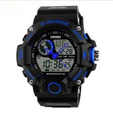 2016 Quartz Digital Camo Watch Men Dual Time Man Sports Watches Men Skmei S Shock Military Army Reloj Hombre LED Wristwatches (Blue)