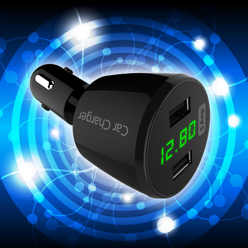25W 5A 2-Port Dual USB Car Charger LED Voltage (Intl)