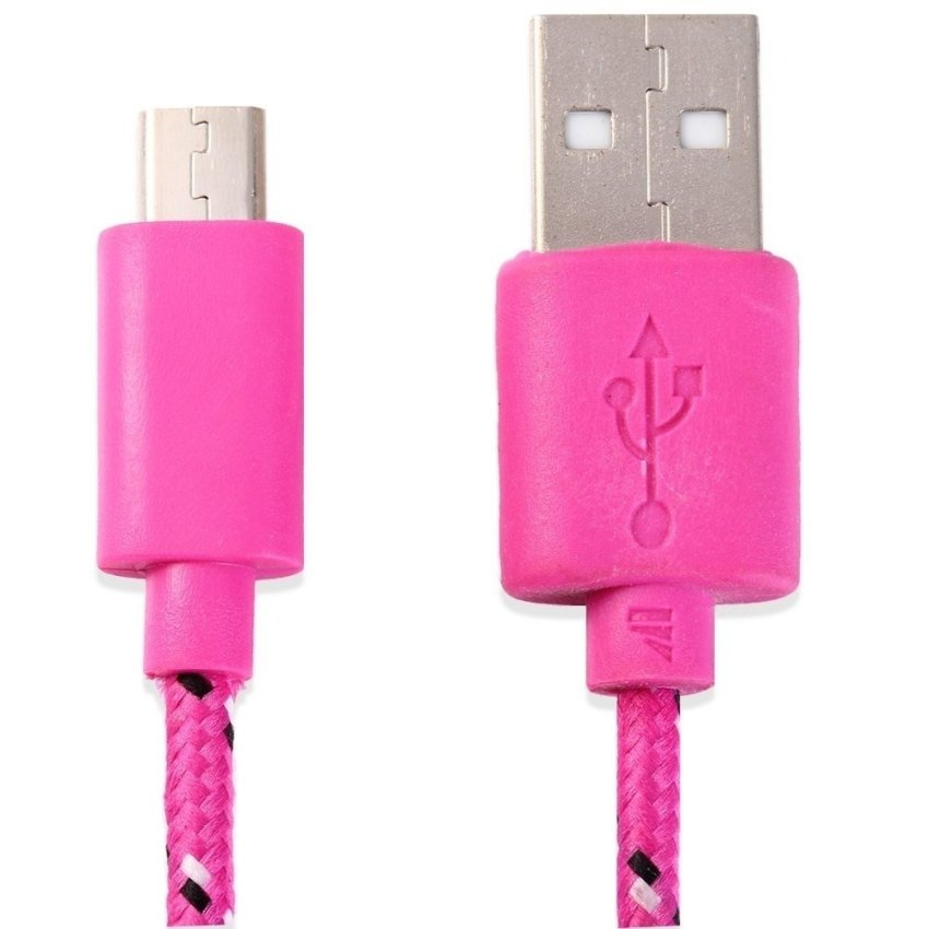 2M Colorful Round Nylon Fabric Braided Micro USB Data Cable for Data Connection and Charging (Pink) (Intl)
