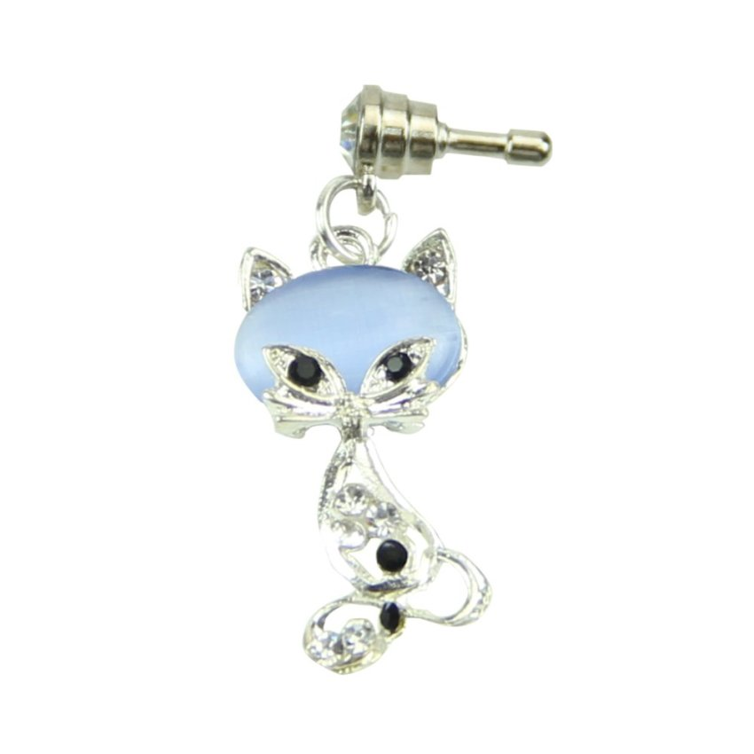3.5mm Fox Crystal Anti Dust Earphone Plug Cover Stopper Cap for iPhone 6 Samsung (Blue) (Intl)