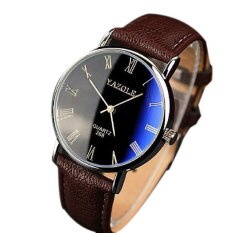 3 Colors Fashion Quartz Watch Luxury Simple Style PU Leather Straps Watches For Men And Women Clock Wristwatches Relojes Brown (INTL)