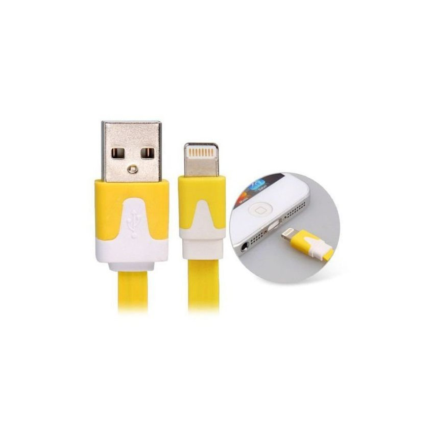 3 m Data Transmission Charging Flat Cable for iPhone 5 iPad Mini iPod Touch 5 iPod Nano 7 iPad 4 Yellow
