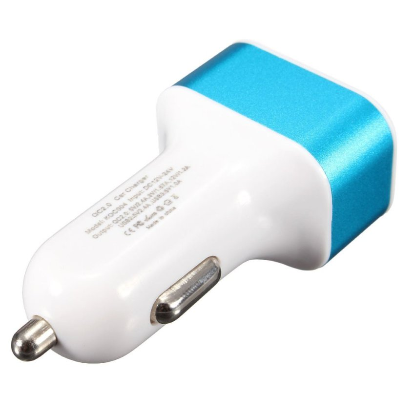 3 Ports USB QC 2.0 In Car Charger Charge Adaptive Fast Charging Socket 12-24V Blue (Intl)