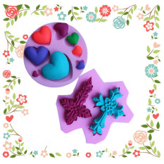 1 Pcs Two Crosses Shaped Silicone Mold And Love Heart Shape Cake Decoration Fondant Mold - Intl