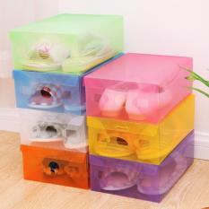 Kotak Sepatu Transparan Warna-Warni - Multicolour Transparent Shoe Box - 10 Pcs