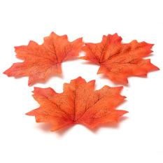 100 buah daun Maple di saat musim gugur daun-daun saat musim gugur dekorasi pesta pernikahan kerajinan buku tempel orange