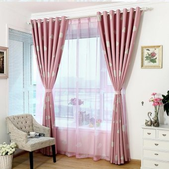 100 cm X 250 cm Pola Awan Tirai Tipis Jendela Layar Kelambu KainPual Berwarna Merah Muda