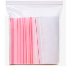 100 Pieces 280mmx200mm Thickness 0.04mm Transparent PE Red Zipper Ziplock Bags For Storage