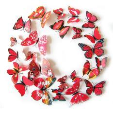 12 Buah 3D PVC Magnet Kupu-kupu Pasang Sendiri Stiker Dinding Dekorasi Rumah Merah