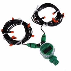 15m 4mm Hose with Micro Drip Irrigation Kit with Nozzle Sprinkler and Timer Fog System Sprayers Water Sprinkler Spray - intl