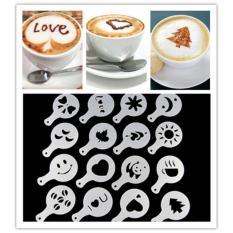 16pcs / Set Cappuccino Latte Stencil Coffee Mold Decor Barista Duster Art Tool Decoration Cake Cappuccino Foam Tools - Intl