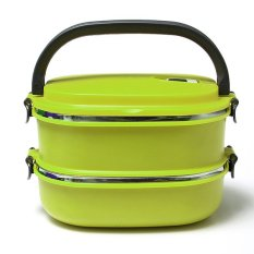 2 Layers Stainless Steel Lunch Box Picnic Storage Box Insulated Thermal (Intl)