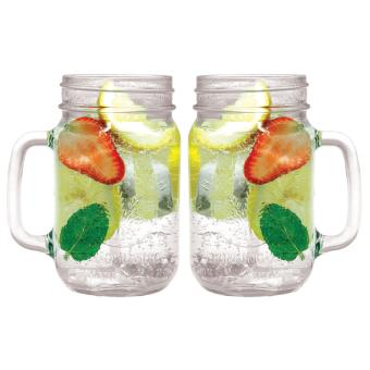 2 PCS Mug Harvest Time Drinking Jar Gelas Cafe Bening 450 ml