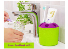 2 PCS Multi-purpose Porous Brush Pot Toothbrush Toothpaste Holder Bathroom Cabinet Organizer Plastic Storage Stand For Travel And Home (Round Green) - Intl