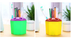 2 PCS Multi-purpose Porous Brush Pot Toothbrush Toothpaste Holder Bathroom Cabinet Organizer Plastic Storage Stand For Travel And Home (Yellow / Green) - Intl