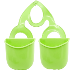 2 PCS Plastic Kitchen Sink Drain Bathroom Hanging Storage Basket Holder Shelf Organizer Bag For Kitchen And Bathroom Green