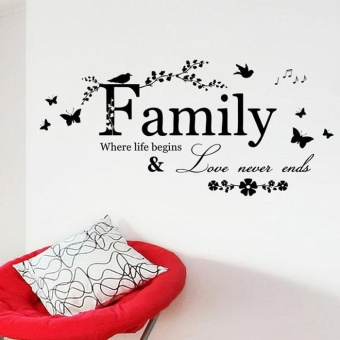2015 Family Flower Butterfly Art Vinyl Quote Wall Stickers WallDecals Home Deco - intl