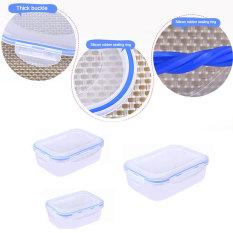 2016 High Quality 3Pcs / Set Multifunction Transparent Crisper Set Food Storage Box Kitchen Containers (Blue)