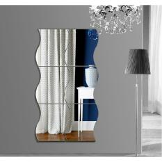 2017 6 Pcs A Set Waves Mirror Wall Sticker DIY Vinyl Stickers for Living Room Kids