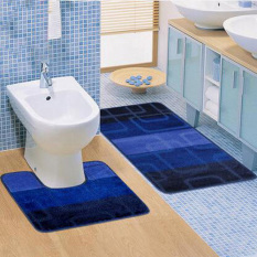 2PCS Anti-slip Bath Mat Anti-slip Absorbent Bathroom Toilet Mats (Blue) (Intl)