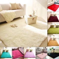2PCS Shaggy Anti skid Carpets Fluffy Rugs Floor Yoga Bedroom Mat Cover 80 .