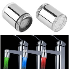 3 Color LED Light Change Faucet Shower Water Tap Temperature Sensor No Battery Water Faucet Glow Shower Left Screw - intl