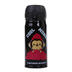 350ML Cartoon Cool Dog Bullet Cover Insulation Cup Creative Stainless Steel Cup Korean Students Cup Black - Intl