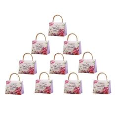 360DSC 10Pcs Wedding Festival Candy Box with Handle Romantic Trapezoid Papercard DIY Gift Box Party Supply