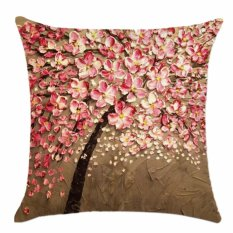 360DSC 3D Flower and Tree Oil Painting Pattern Polyester Ramie Square Pillow Cover Decorative Cushion Case