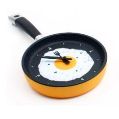 360DSC Creative Fried Egg Pan Wall Clock Hanging Clock - Orange
