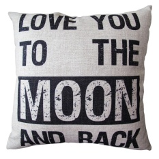 360DSC Love You to the Moon and Backu0026#34; Printing Cotton Linen Square Shaped