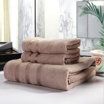 3pcs / Set Cotton Bath Towel Sets For Adults Kids Solid Beach Towel Home Textile Bathroom Gifts Hotel Supply (Camel) 33x76cm And 70x140cm - Intl
