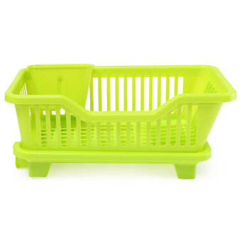 4-Color Kitchen Dish Drainer Drying Rack Washing Holder Basket Organizer Tray Green