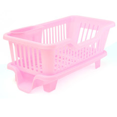 4-Color Kitchen Dish Drainer Drying Rack Washing Holder Basket Organizer Tray Pink - Intl