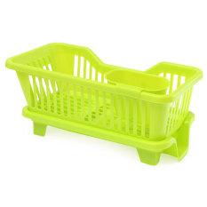 4-Color Kitchen Dish Drainer Drying Rack Washing Holder Basketorganizer Tray Green - Intl