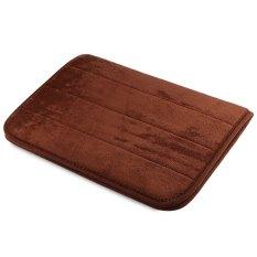 40 X 60cm Coral Velvet Bathroom Mat Non-slip Memory Foam Rug Soft Floor Carpet(brown)