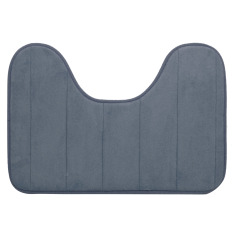 40 X 60cm U Shape Wide Style High Density Non-slip Bathroom Toilet Pedestal Lint Rug Carpet Floor Mat Grey - Intl