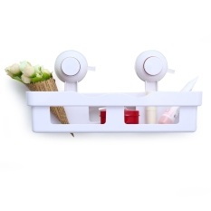 41074 - 1 Bathroom Rectangle Commodity Shelf Single Layer Storage Rack With Double Sucker (White)