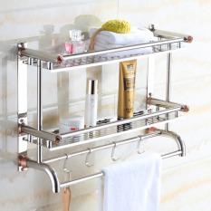 50cm*16cm*46cm, Bathroom Shelves, Two Layer Towel Holders Bath, Towel Rack With Hooks Wall Mounted Double Deck, Bathroom Shelves, Stainless Steel - Intl