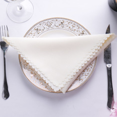 5Pcs High Quality Hotel Jacquard Cloth Napkins Wedding Banquet Cream - Intl