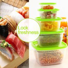 5Pcs / Set Multifunction Transparent Sealed Microwavable Crisper Set Food Storage Box Kitchen Containers Supplies Crisper Refrigerator Plastic Food Preservation Container