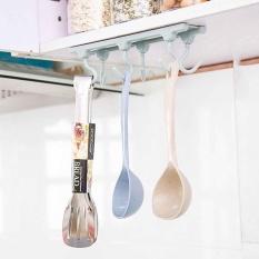 6 Hooks Cup Holder Hang Cabinet Under Shelf Storage Rack Kitchen Organiser Hook - intl